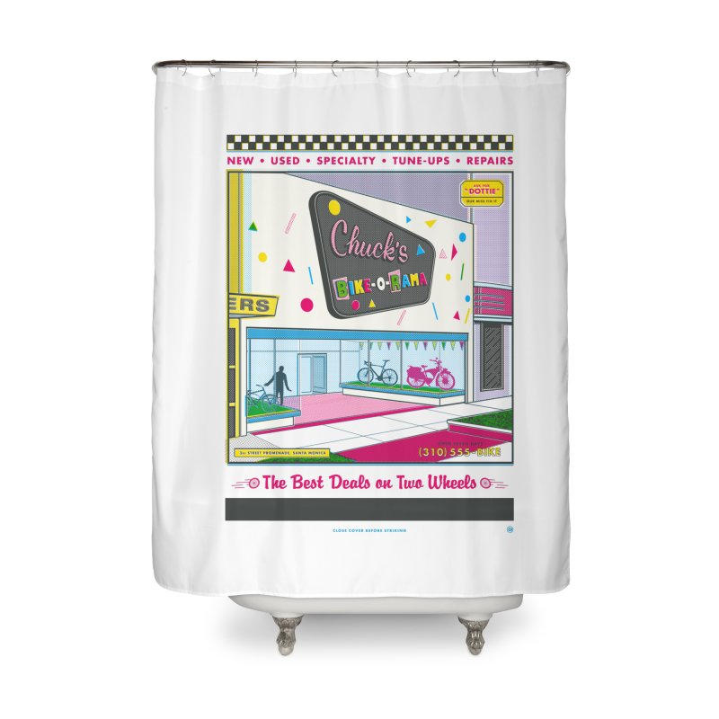 Chuck's Bike-O-Rama Home Shower Curtain by Steve Dressler Illustration & Design