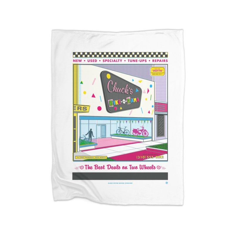 Chuck's Bike-O-Rama Home Fleece Blanket Blanket by Steve Dressler Illustration & Design