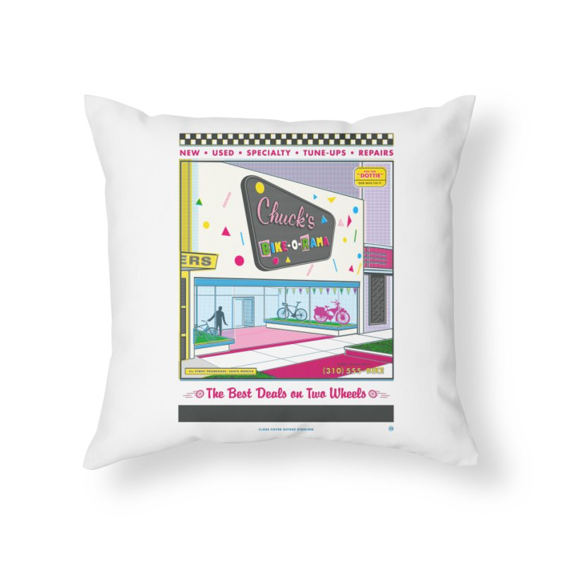 Chuck's Bike-O-Rama Home Throw Pillow by Steve Dressler Illustration & Design