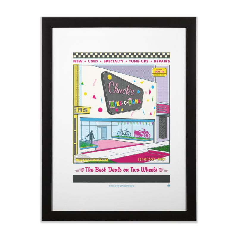 Chuck's Bike-O-Rama Home Framed Fine Art Print by Steve Dressler Illustration & Design