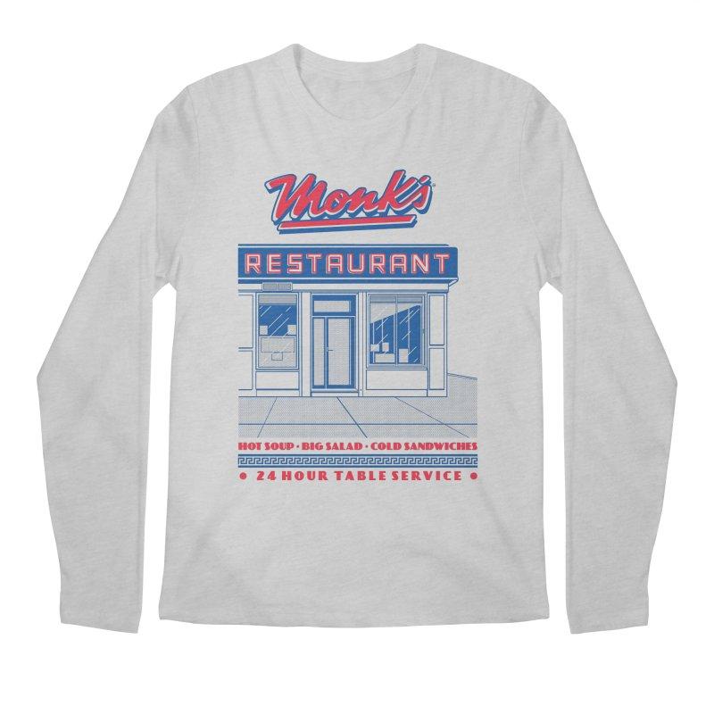 Monk's Restaurant Men's Regular Longsleeve T-Shirt by Steve Dressler Illustration & Design