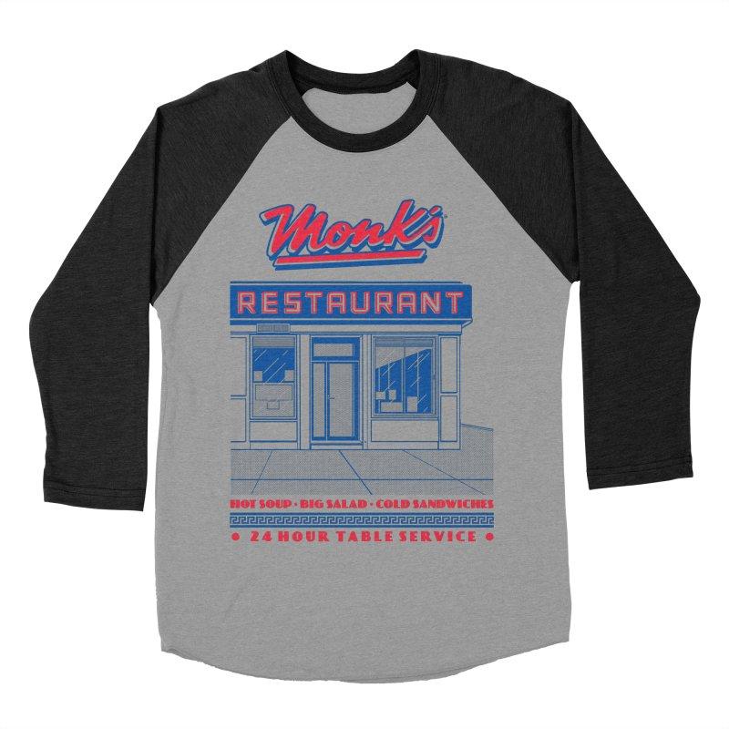 Monk's Restaurant Men's Baseball Triblend Longsleeve T-Shirt by Steve Dressler Illustration & Design
