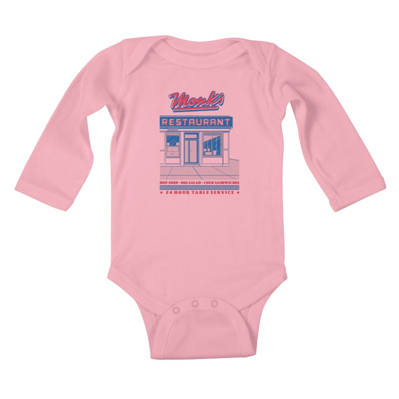 Monk's Restaurant Kids Baby Longsleeve Bodysuit by Steve Dressler Illustration & Design