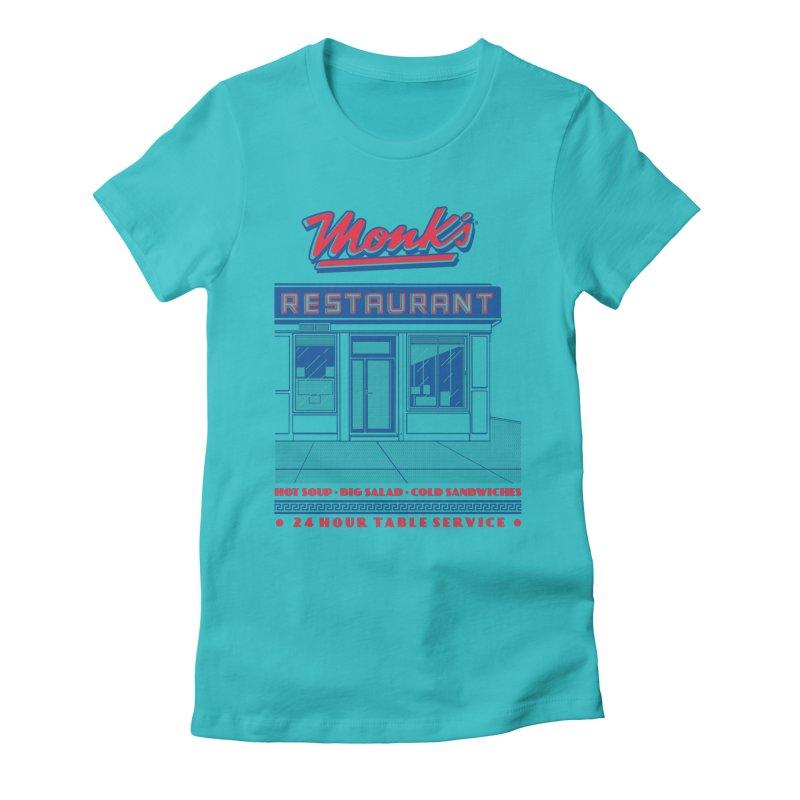 Monk's Restaurant Women's Fitted T-Shirt by Steve Dressler Illustration & Design