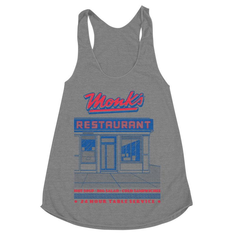 Monk's Restaurant Women's Racerback Triblend Tank by Steve Dressler Illustration & Design