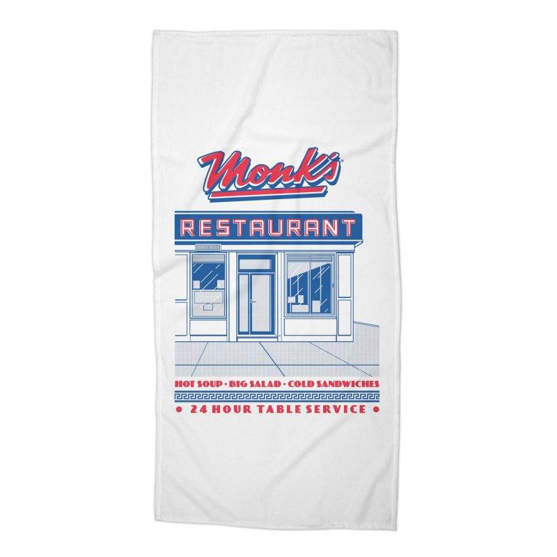 Monk's Restaurant Accessories Beach Towel by Steve Dressler Illustration & Design