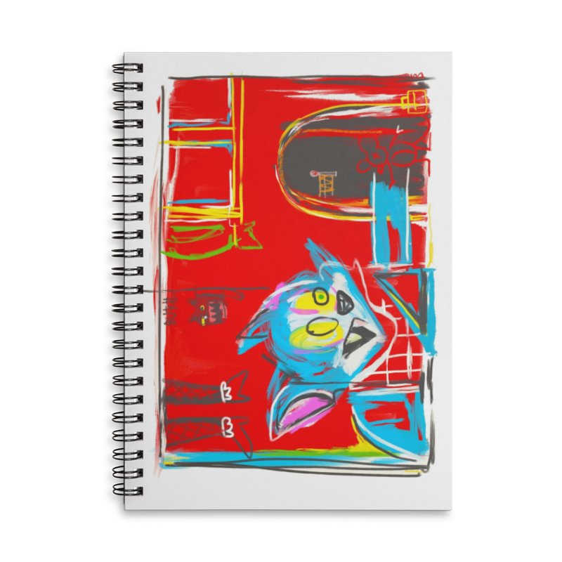 Cat & Mouse Accessories Lined Spiral Notebook by Steve Dressler Illustration & Design