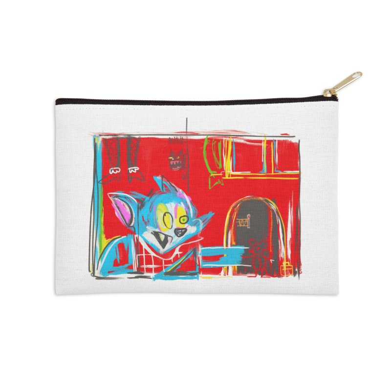 Cat & Mouse Accessories Zip Pouch by Steve Dressler Illustration & Design