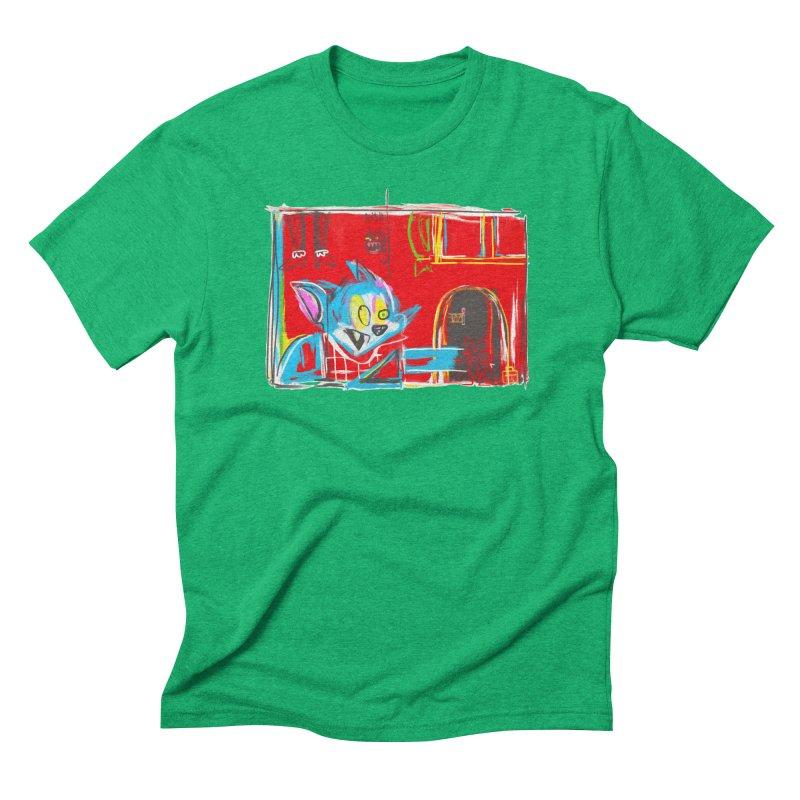Cat & Mouse Men's Triblend T-Shirt by Steve Dressler Illustration & Design