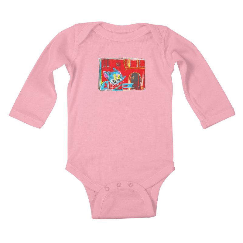 Cat & Mouse Kids Baby Longsleeve Bodysuit by Steve Dressler Illustration & Design