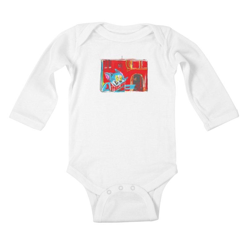Cat & Mouse Kids Baby Longsleeve Bodysuit by Steve Dressler Illustration & Design