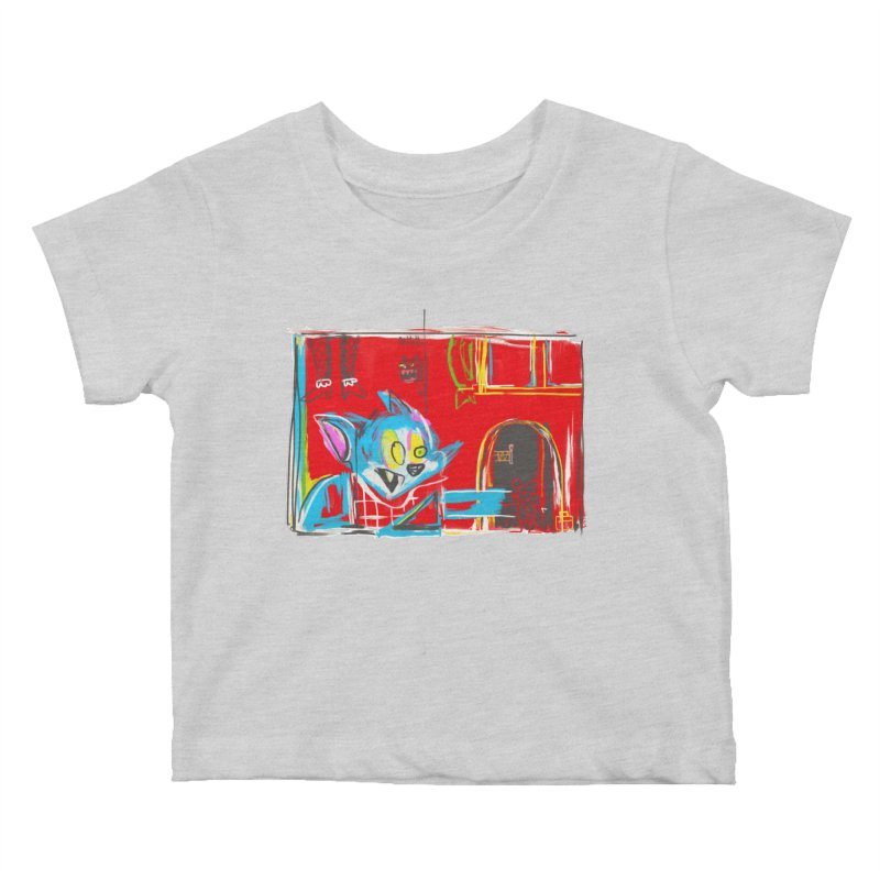 Cat & Mouse Kids Baby T-Shirt by Steve Dressler Illustration & Design