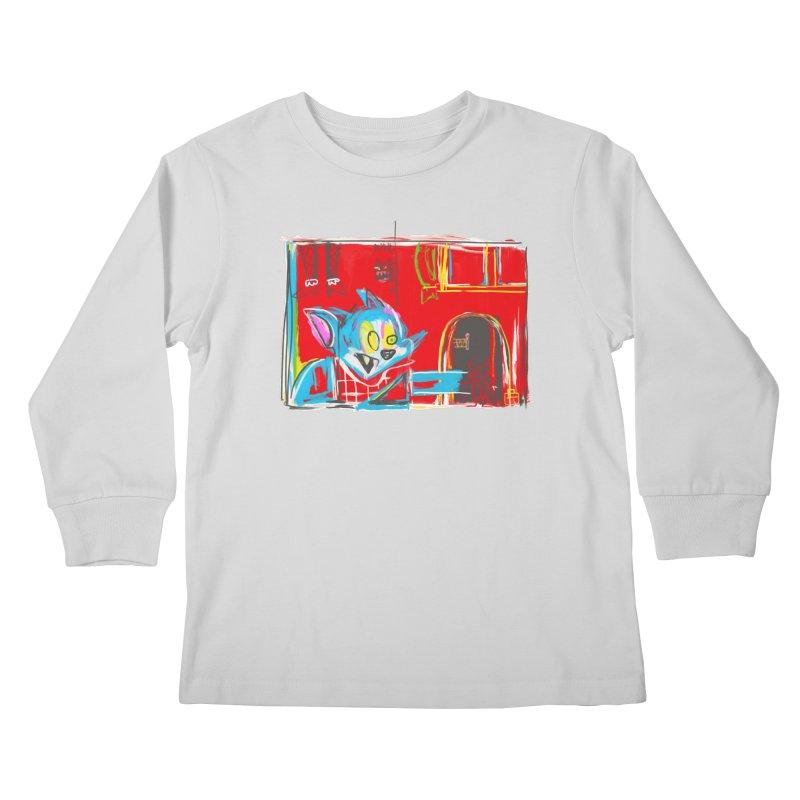 Cat & Mouse Kids Longsleeve T-Shirt by Steve Dressler Illustration & Design