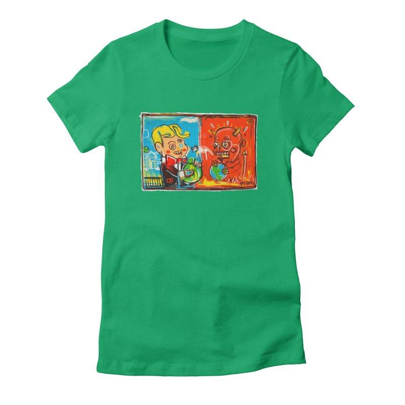 Rich & Evil Women's Fitted T-Shirt by Steve Dressler Illustration & Design
