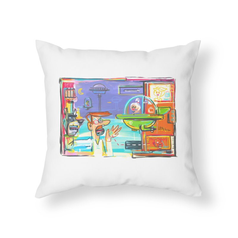 Space Family Home Throw Pillow by Steve Dressler Illustration & Design