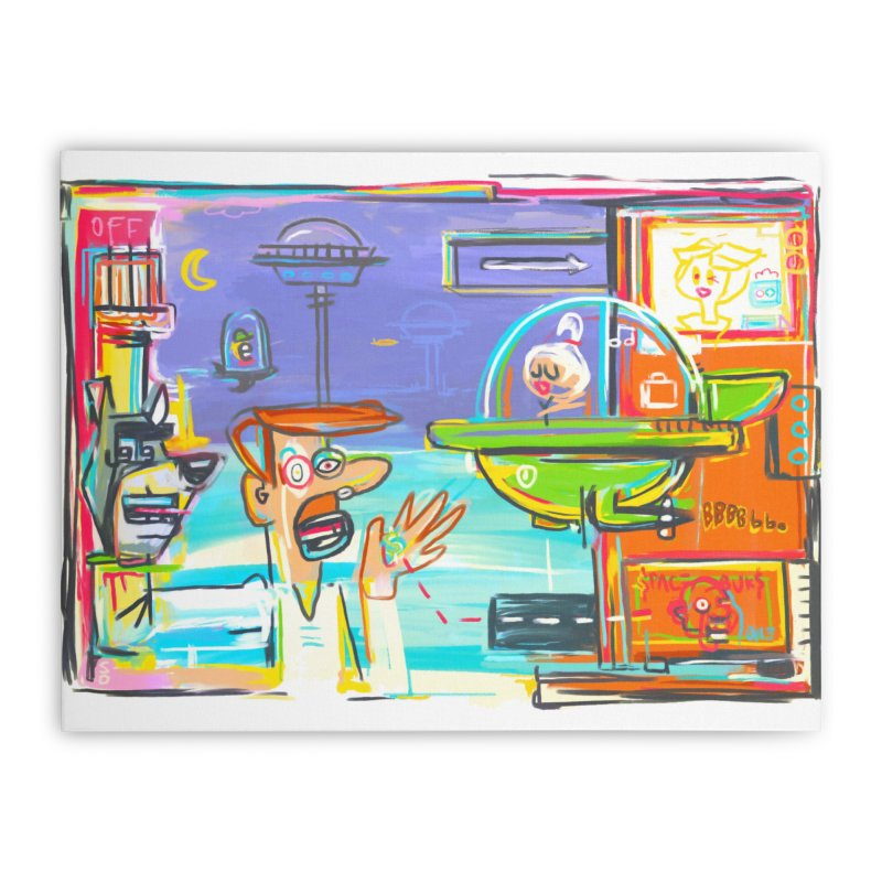 Space Family Home Stretched Canvas by Steve Dressler Illustration & Design