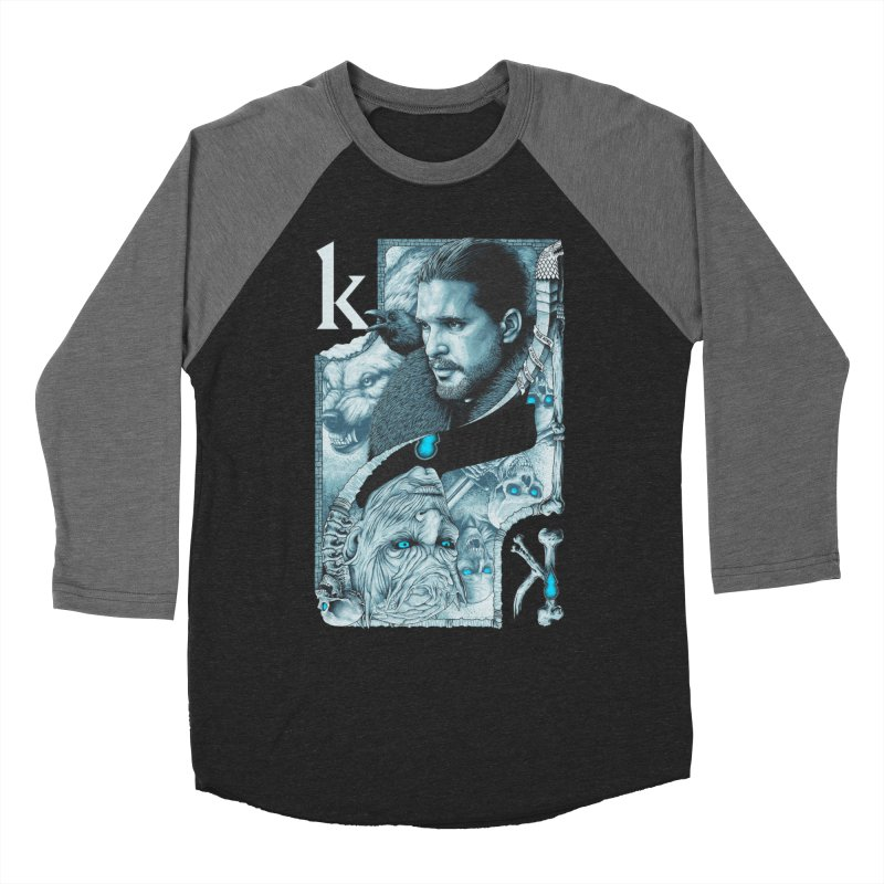 Kings In The North in Men's Baseball Triblend Longsleeve T-Shirt Grey Triblend Sleeves by The Art Of Steven Luros Holliday