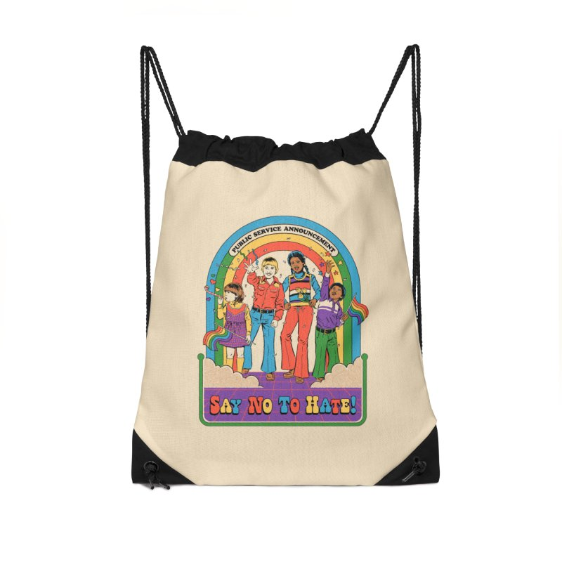 Say No To Hate Accessories Drawstring Bag Bag by Steven Rhodes