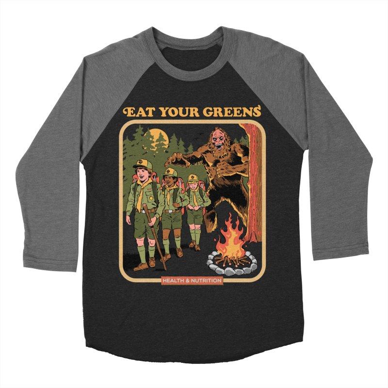 Eat Your Greens Men's Baseball Triblend Longsleeve T-Shirt by Steven Rhodes