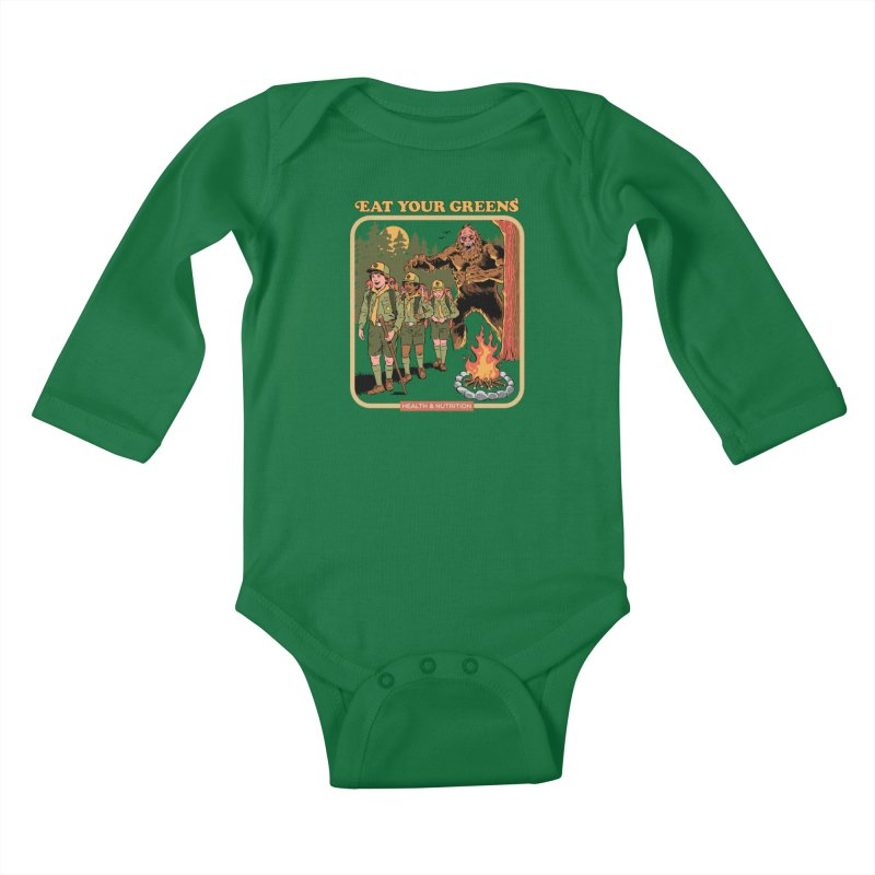 Eat Your Greens Kids Baby Longsleeve Bodysuit by Steven Rhodes
