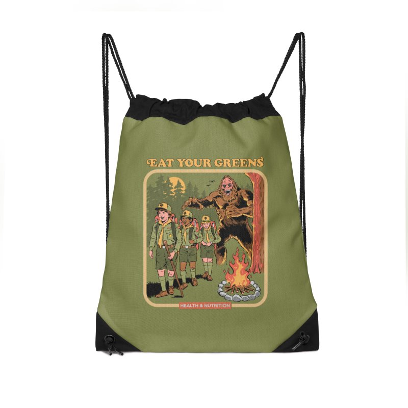 Eat Your Greens Accessories Drawstring Bag Bag by Steven Rhodes