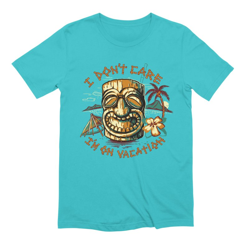 I Don't Care in Men's Extra Soft T-Shirt Pacific Blue by Steven Rhodes