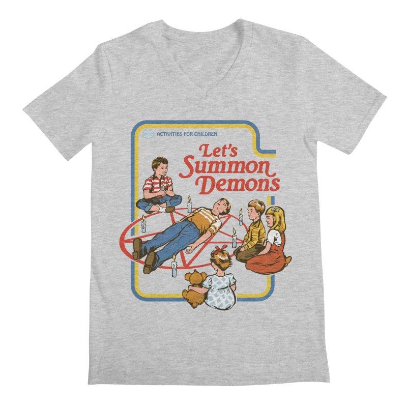 Let's Summon Demons Men's Regular V-Neck by Steven Rhodes