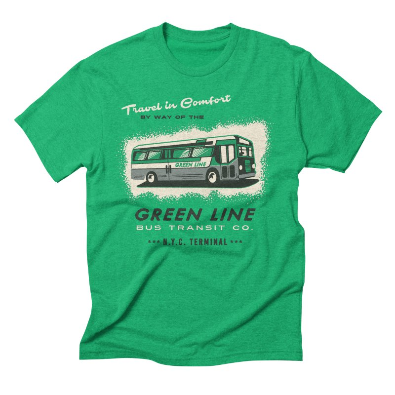 Green Line Bus Men's Triblend T-shirt by Steven Rhodes