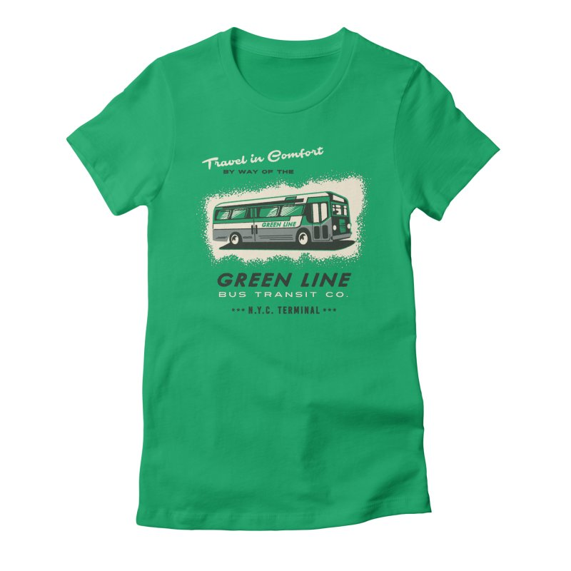 Green Line Bus Women's Fitted T-Shirt by Steven Rhodes