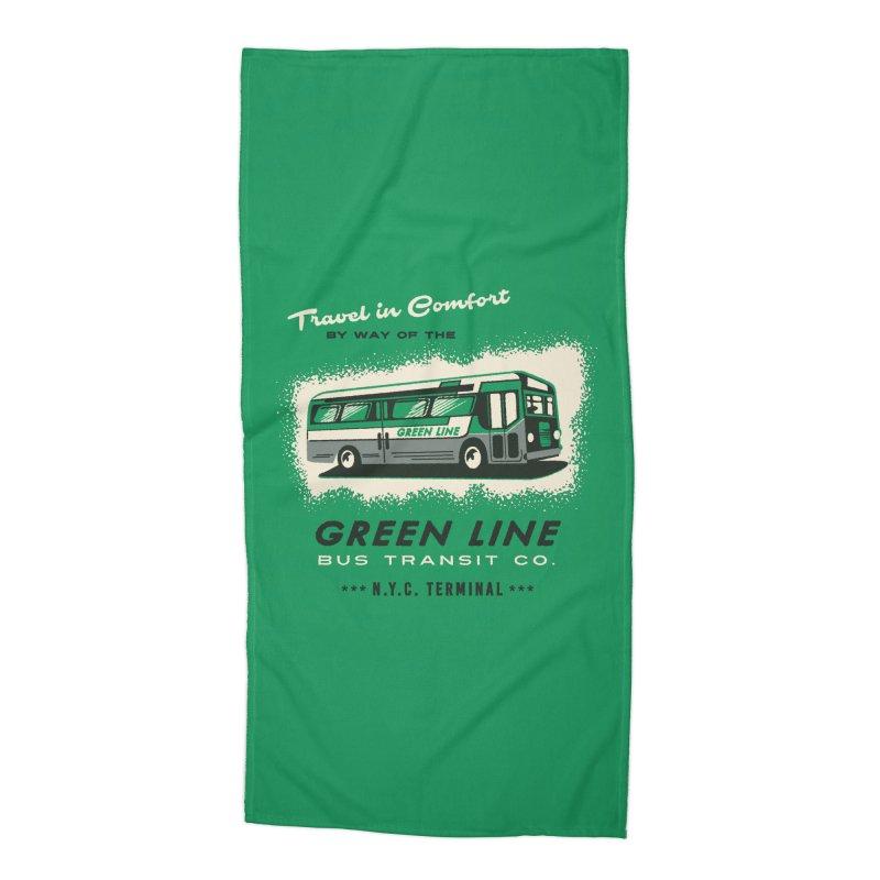 Green Line Bus Accessories Beach Towel by Steven Rhodes
