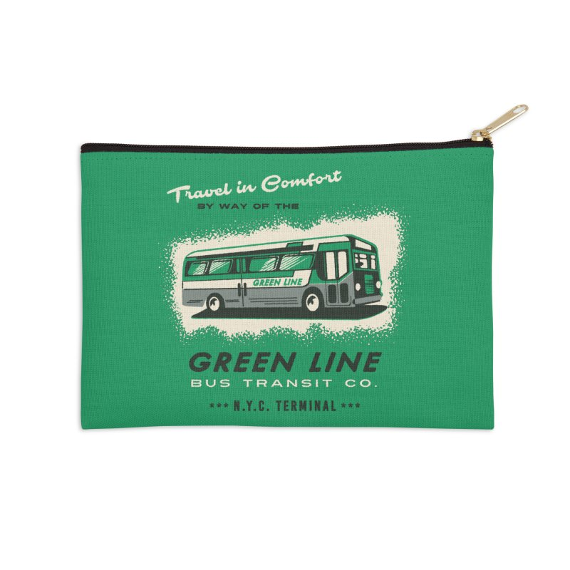 Green Line Bus Accessories Zip Pouch by Steven Rhodes
