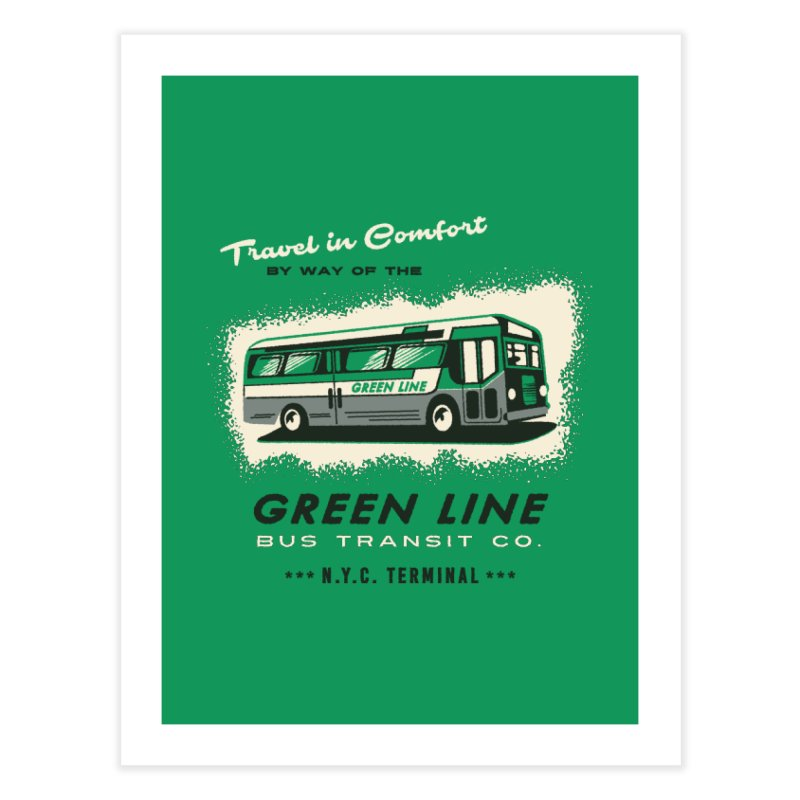 Green Line Bus Home Fine Art Print by Steven Rhodes