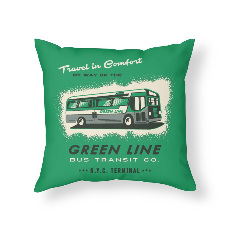 Green Line Bus Home Throw Pillow by Steven Rhodes