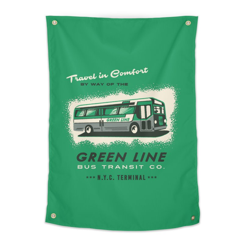 Green Line Bus Home Tapestry by Steven Rhodes