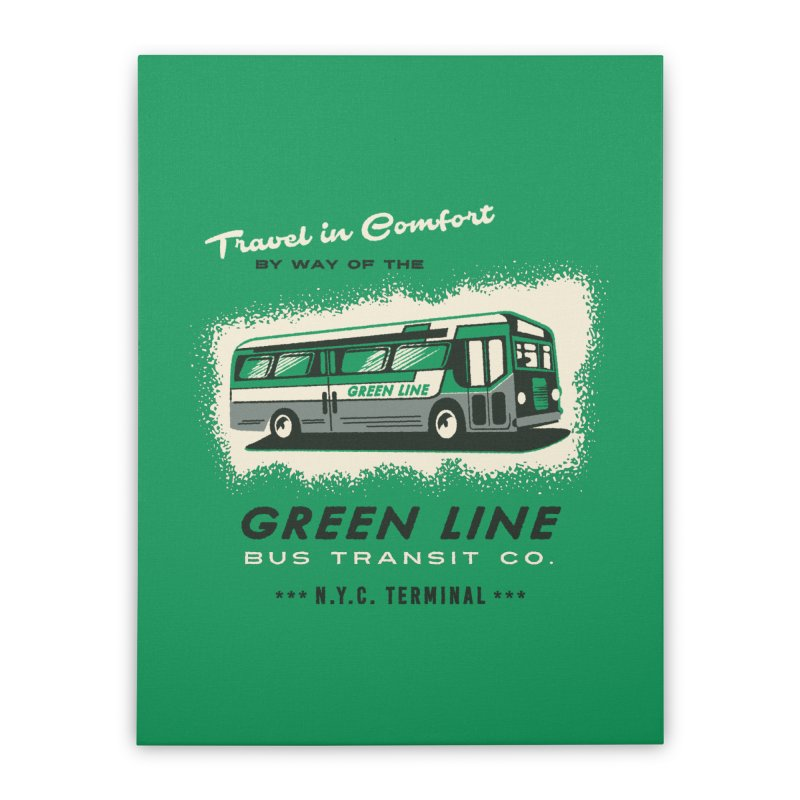 Green Line Bus Home Stretched Canvas by Steven Rhodes