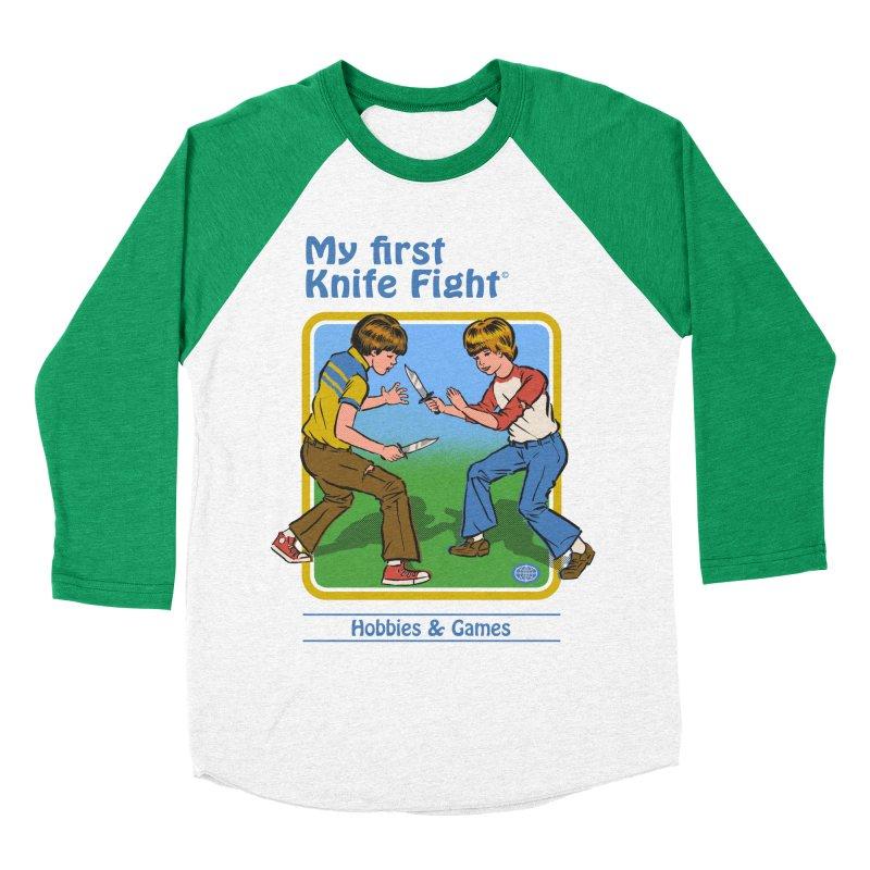 My First Knife Fight Men's Baseball Triblend T-Shirt by Steven Rhodes