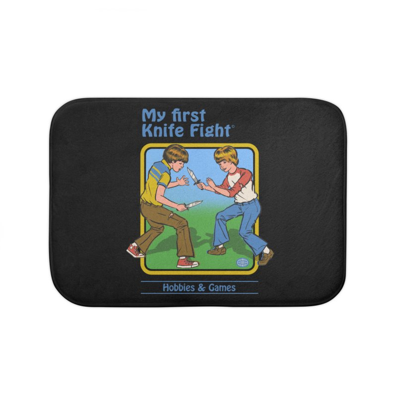 My First Knife Fight Home Bath Mat by Steven Rhodes