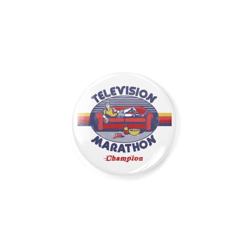 Television Marathon Champion Accessories Button by Steven Rhodes