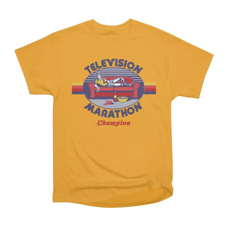 Television Marathon Champion in Men's Classic T-Shirt Gold by Steven Rhodes