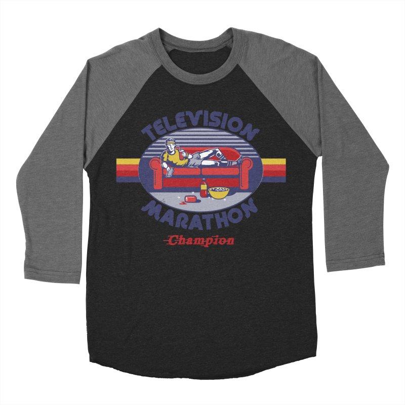 Television Marathon Champion Women's Baseball Triblend T-Shirt by Steven Rhodes