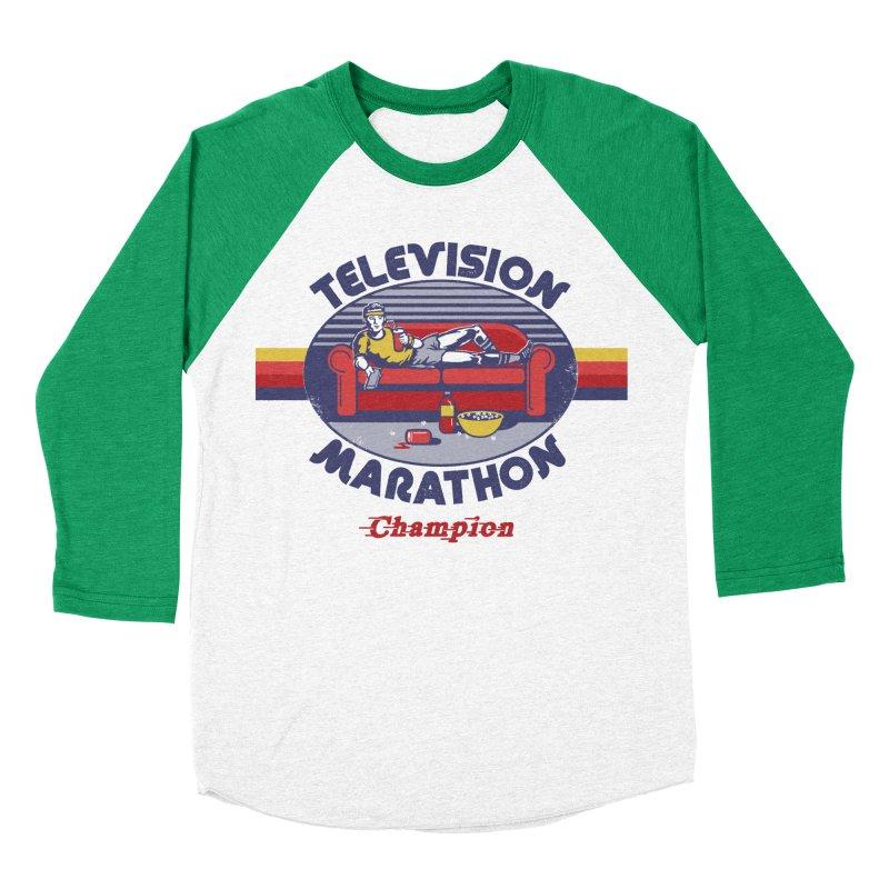 Television Marathon Champion Men's Baseball Triblend T-Shirt by Steven Rhodes
