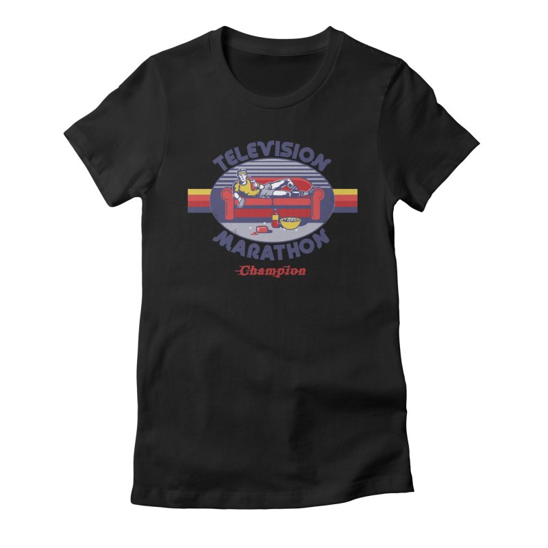 Television Marathon Champion Women's Fitted T-Shirt by Steven Rhodes
