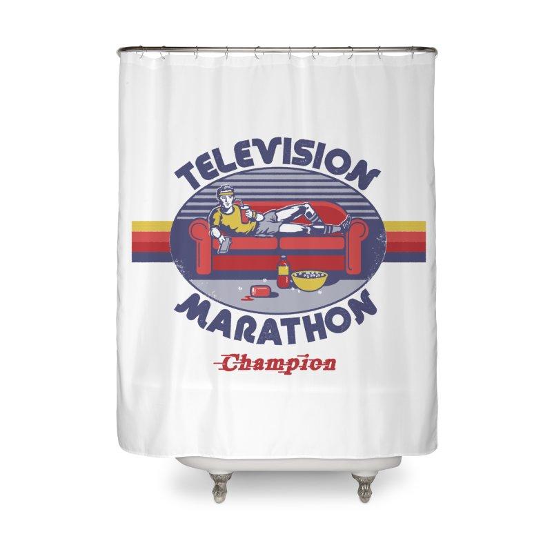 Television Marathon Champion Home Shower Curtain by Steven Rhodes