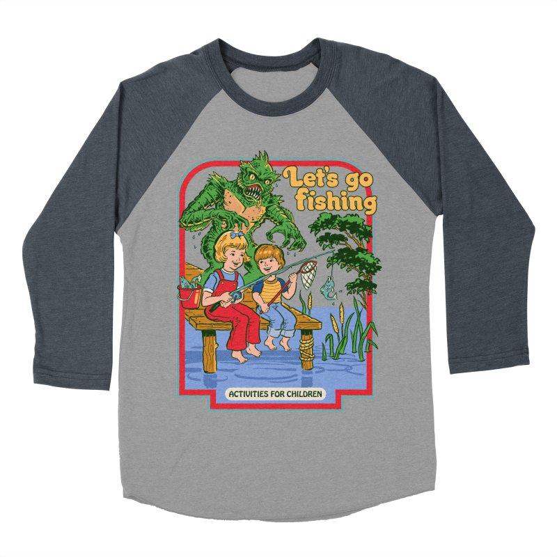Let's Go Fishing Men's Baseball Triblend T-Shirt by Steven Rhodes