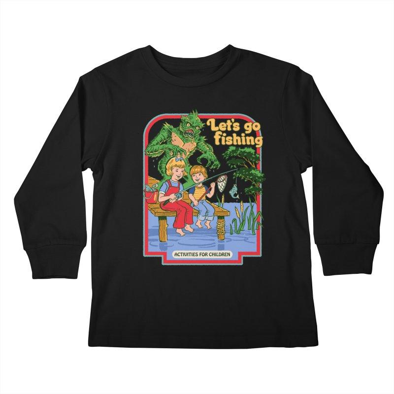 Let's Go Fishing Kids Longsleeve T-Shirt by Steven Rhodes