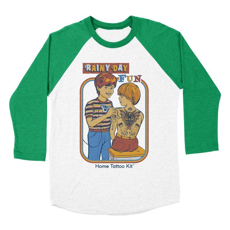 Rainy Day Fun Men's Baseball Triblend T-Shirt by Steven Rhodes