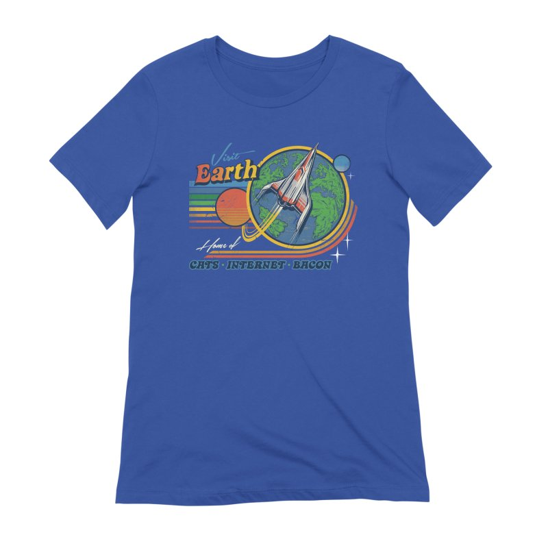 Visit Earth in Women's Extra Soft T-Shirt Royal Blue by Steven Rhodes