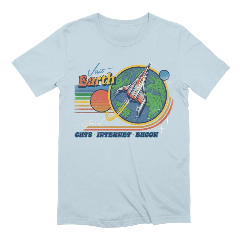 Visit Earth in Men's Extra Soft T-Shirt Baby Blue by Steven Rhodes