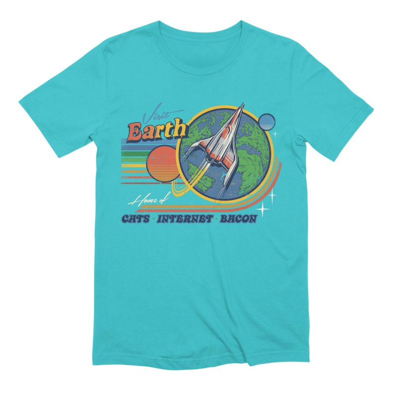 Visit Earth in Men's Extra Soft T-Shirt Pacific Blue by Steven Rhodes