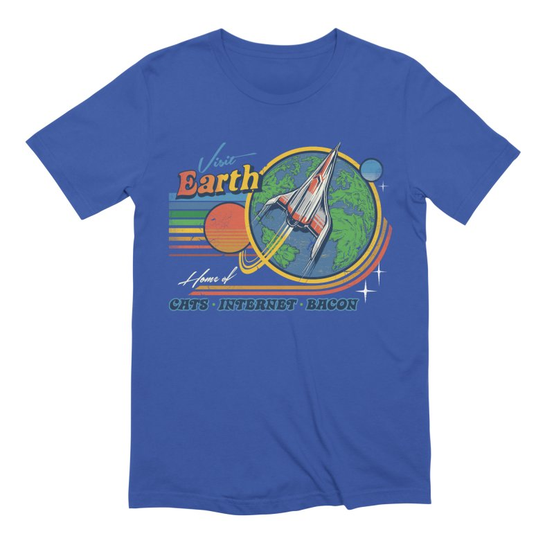 Visit Earth in Men's Extra Soft T-Shirt Royal Blue by Steven Rhodes